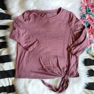 Suzy Shier Mauve Pink 3/4 Sleeve Tie Knot Sweater
